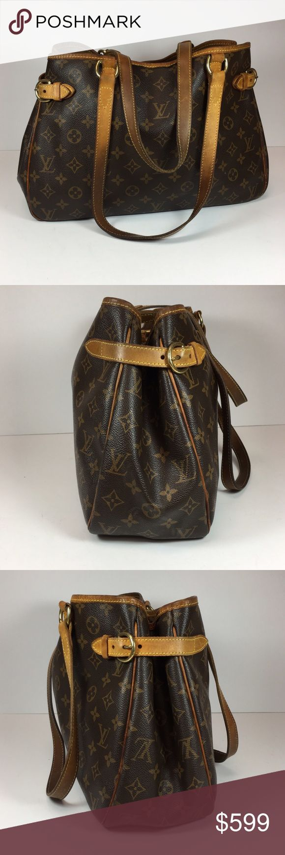 """Louis Vuitton Monogram Batignolles Horizontal Tote Brown and tan monogram coated canvas Louis Vuitton Batignolles Horizontal bag with brass hardware, tan vachetta leather trim, dual flat shoulder straps, buckle expansions at sides, brown canvas lining, dual pockets at interior wall; one with zip closure and clasp closures at top. Date code is worn, but part can be made out. Overall very good used condition.  Height: 10.5"""" Depth: 4.75"""" Shoulder Strap Drop: 9"""" Width: 14"""" Louis Vuitton Bags…"""