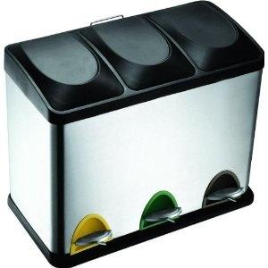 Edelstahl Tretabfalleimer 45 Liter Mülleimer