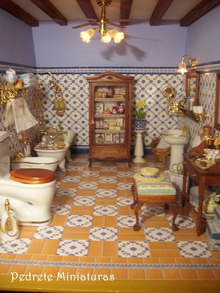518 migliori immagini casa di bambola stanzette da bagno - Bagno in miniatura ...