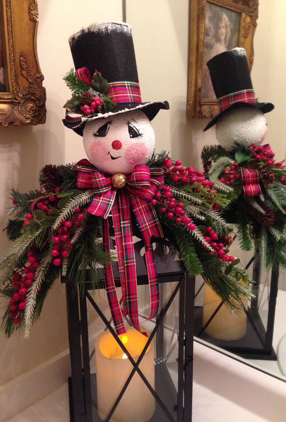Snowman Lantern Swag by MarlenesCraftShop on Etsy, $48.95