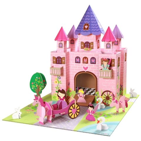 Eco friendly fairy playset by Kroom - guranteed to impress, delight and provide hours of imaginative play - makes a great gift for girls!  This play set includes castle, 12 figurines, play mat and accessories as pictured  Made from 100% recyclable laminated materials.  Dimensions: 78CM x 47CM x 20CM  Suitable for ages 3+