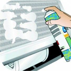 CLIMANET SPRAY - flacon 600ml Detergent pentru curatarea aparatelor de aer conditionat Detergent spumogen pentru curatarea radiatoarelor lamelare ale aparatelor de aer conditionat sau altor echipamente. Elimina eficient depunerile de praf si mizeria chiar si de natura organica (musculite, etc). Mod de utilizare:Se pulverizeaza direct pe zona de curatat. Spuma rezultata va penetra in locurile murdare si nu necesita clatirea cu apa.