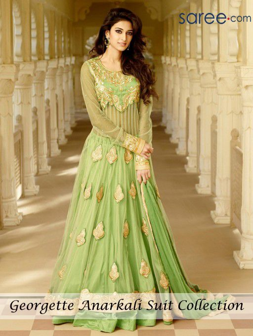 GREEN GEORGETTE ANARKALI SUIT WITH EMBROIDERY WORK