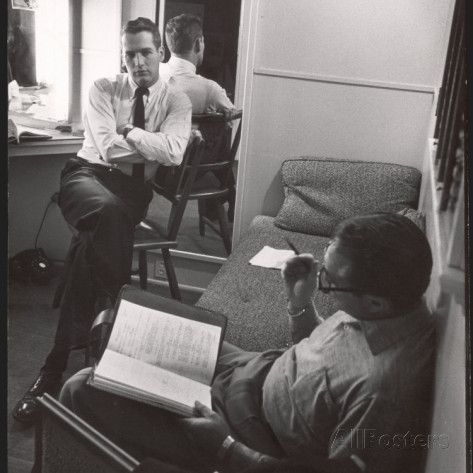 "Movie Director Vince Sherman with Actor Paul Newman Reviewing Script of ""The Young Philadelphians"" Premium Photographic Print by Leonard Mccombe at AllPosters.com"