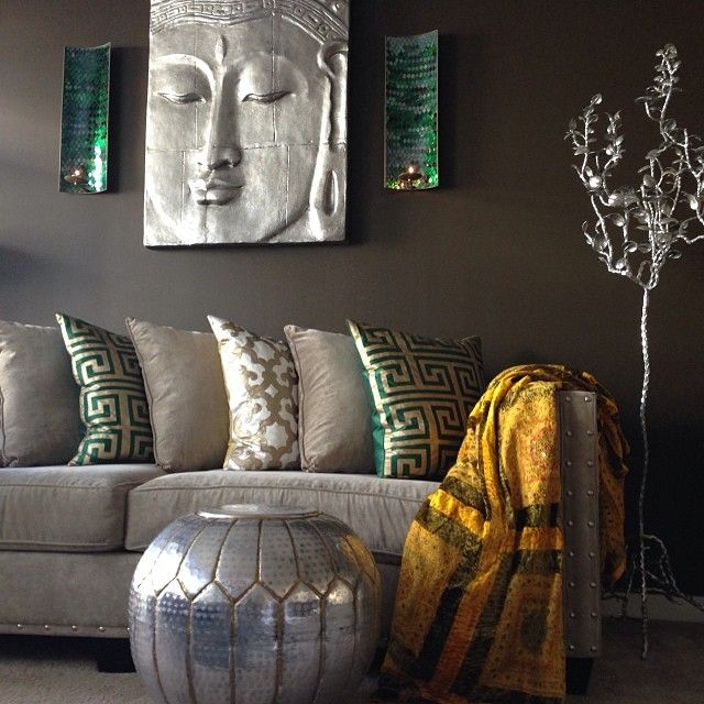 Our Mykonos Pillows, Boulevard Pillows, & Serenity Buddha Panel make for a  zen space