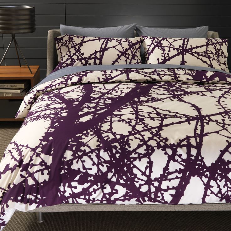 Larch Plum Duvet | Unison, $140: Winter Trees, Spare Bedrooms, Duvet Covers, Bedrooms Shops, Gray Rooms, Plum Duvet, Guest Rooms, Bedrooms Ideas, Larch Plum
