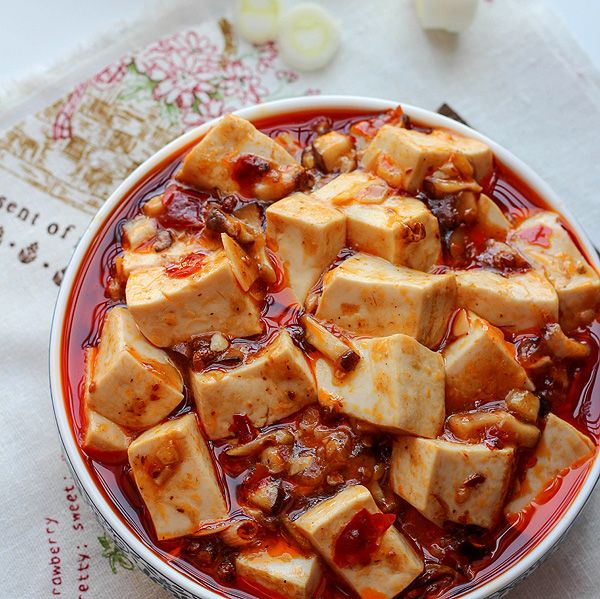 {China}Vegetarian Mapo Tofu with Mushrooms