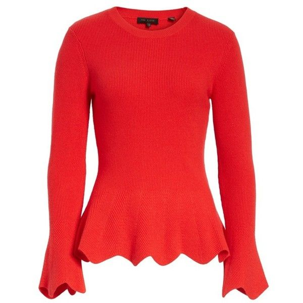 Women's Ted Baker London Peplum Sweater (630 PEN) ❤ liked on Polyvore featuring tops, sweaters, peplum sweaters, knit sweater, red peplum top, red sweater and ted baker sweater