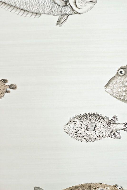 Acquario Wallpaper Pale stone brush stripe wallpaper with tropical fish print in neutrals.