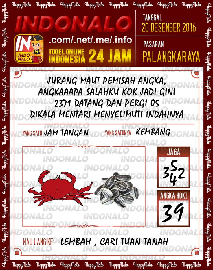 Undian Lotre 4D Togel Wap Online Live Draw 4D Indonalo Palangkaraya 20 Desember 2016