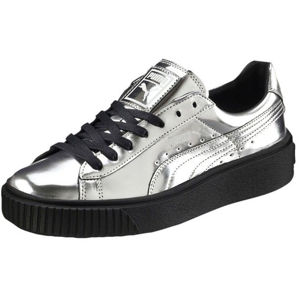 Puma Basket Platform Metallic Women's Sneakers ($100) ❤ liked on Polyvore featuring shoes, sneakers, sports shoes, metallic sneakers, platform trainers, lace up sneakers and sport sneakers