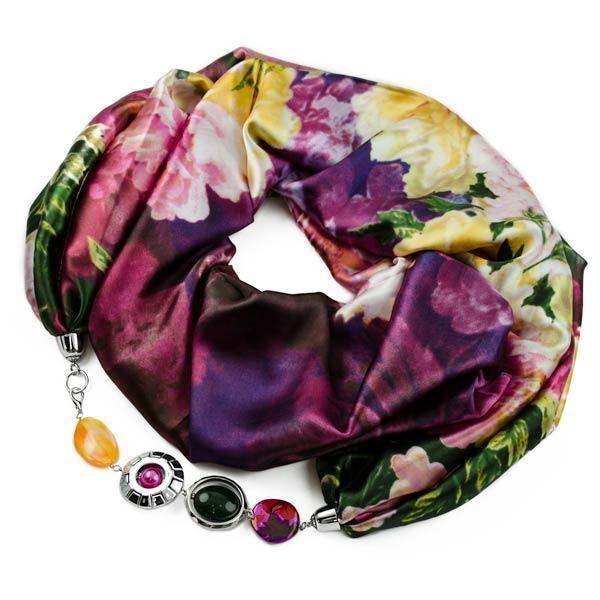 Šála s bižuterií Arleta 396arl008-39.02 - fialová s barevným potiskem - Bijoux…