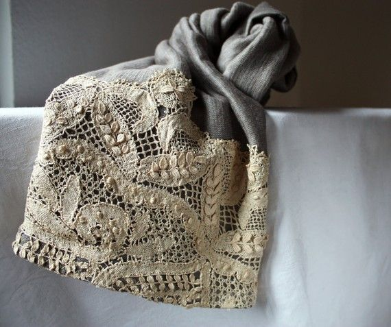 Linen Scarf, in Pearl Grey and Lace