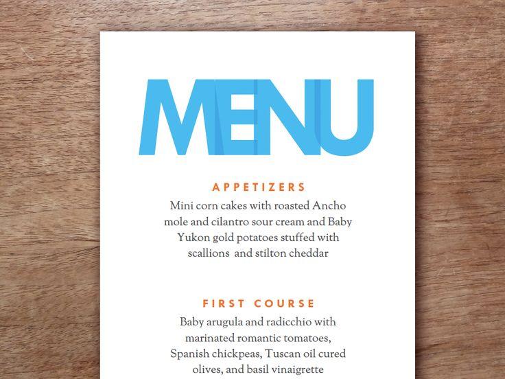 49 best Printable Wedding Menu Templates images on Pinterest - a la carte menu template