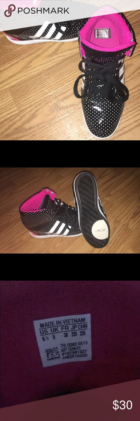 Adidas Pump Sneakers Adidas black pumps with white polka dots and pink lining. Size 6/12 Adidas Shoes Sneakers