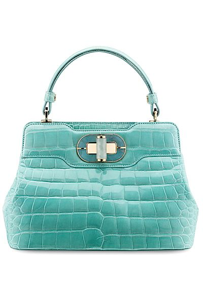"""Bulgari Isabella Rossellini bag in alligator. Leather is polished with agate stone and """"puffed up"""" to produce the rounded, highly polished surface."""