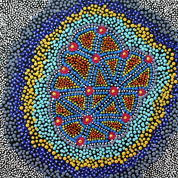 Product shot of Water Dreaming - © Reanne Brown Nampijinpa Water Dreaming represents soakage sites that are naturally occurring wells. During the Dreamtime, two rainmakers created a storm that was so large, it created a giant soakage area that is located west of Yuendumu.
