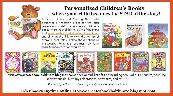 Today (January 23, 2017) is National Reading Day, an annual event which celebrates and encourages reading by younger children. Today is also a great day to buy a personalized children's book for the little readers in your life! Visit www.createabookbaltimore.blogspot.com and click on the link to view the full list of available book titles. Our books make your child the STAR of the story!