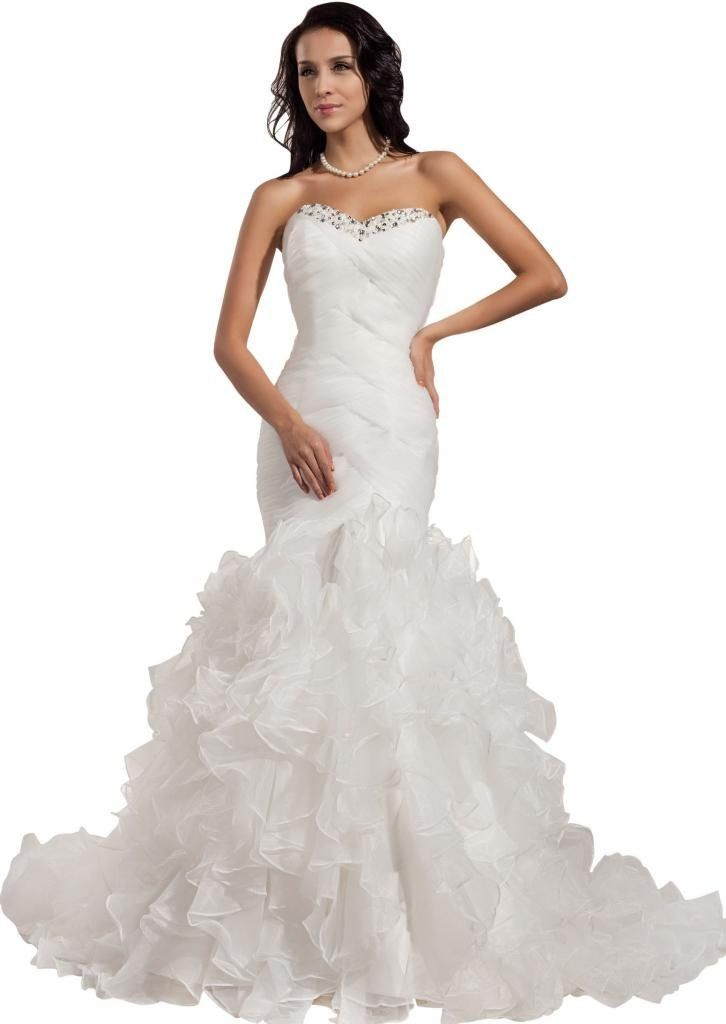 GEORGE BRIDE Formal Strapless Organza Court Train Wedding Dress http://www.amazon.com/exec/obidos/ASIN/B0091QSJF2/hpb2-20/ASIN/B0091QSJF2 I feel like I made a great choice. - This dress is beautiful and it fit perfect I did not need to make any alterations. - The dress is gorgeous, looks even more beautiful than on picture.