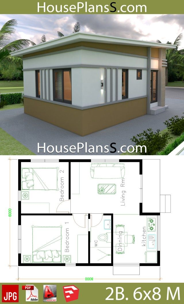 Small House Design Plans 6x8 With 2 Bedrooms House Plans 3d Small House Design Plans House Plans Small House Design