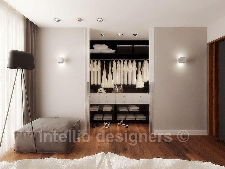 Projekty, Nowoczesna i stylowa sypialnia - Szafa w sypialni, aranżacja Intellio designers