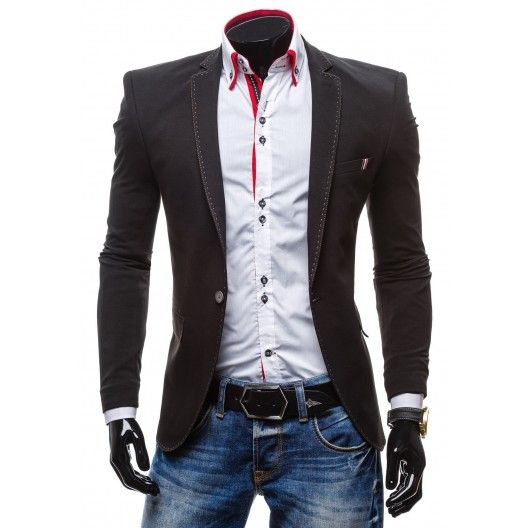 Čierne športové pánske sako lémované bielou nitkou - fashionday.eu