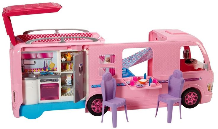 Barbie Dream Camper Van Campsite PlaySet Doll Pool Water Slide Beds Caravan Gift #Barbie #Vehicles