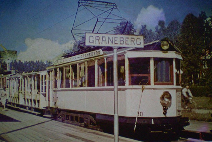 Car 30 with an open trailer at the end of the line at Graneberg. The line was very popular in the summertime, as it was great fun to ride in the open cars!
