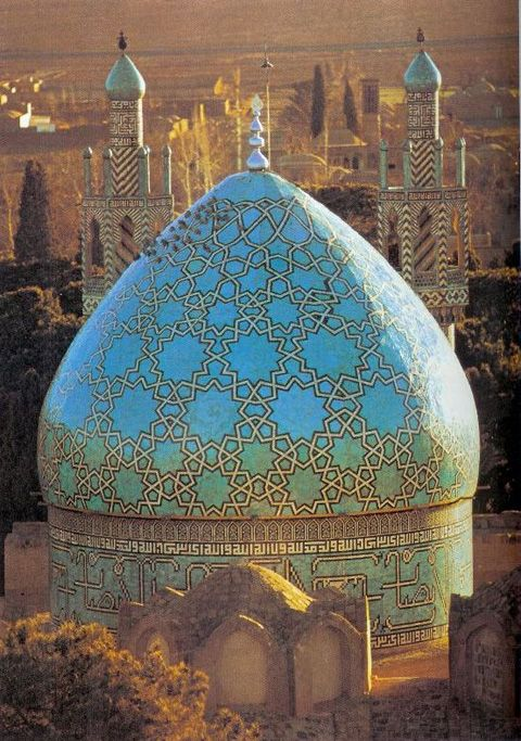 Beautiful Turquoise in Anatolian Seljuk Mosque, Turkey