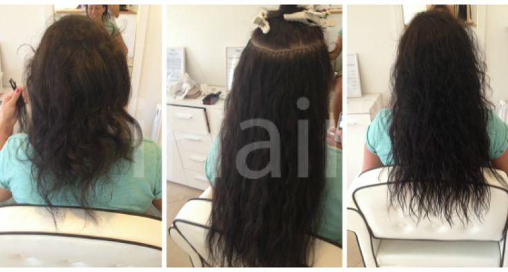 50 cm-es hajhosszabbítás keratinos hőillesztéses technikával 5-ös barna színű hajfesték alkalmazásával