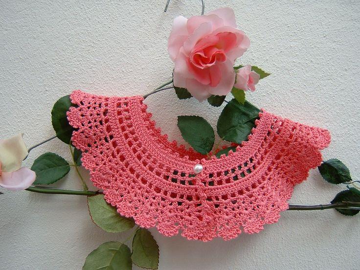 Colletto di cotone rosa all'uncinetto-Collare retro chic vittoriano-Moda donna di pizzo-Look vintage-Colletto femminile e romantico