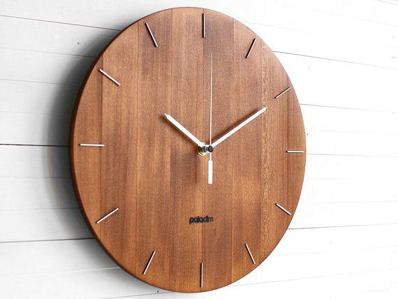 Wooden Round Wall Clock 12 The Oval Etsy Minimalist Wall Clocks Wall Clock Modern Round Wall Clocks