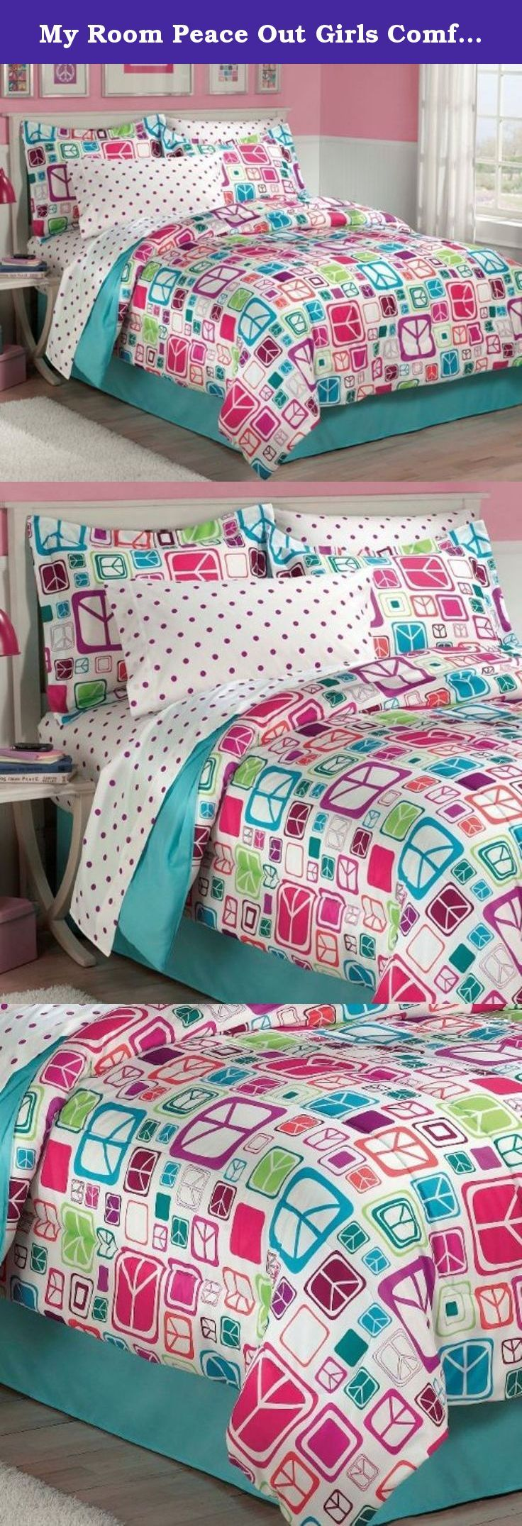 My Room Peace Out Girls Comforter Set With Bedskirt, Teal, Twin. Retro pop culture meets modern styling and sophisticated colorations in this iconic Peace Out complete bedroom ensemble! The face of the comforter and standard flanged pillow shams spotlights a dense, allover design of different sizes and shapes of peace signs in chic hues of turquoise, magenta, brick red, eggplant, apple green, coral and petal pink on a white ground. The comforter reverses to a solid turquoise fabric....