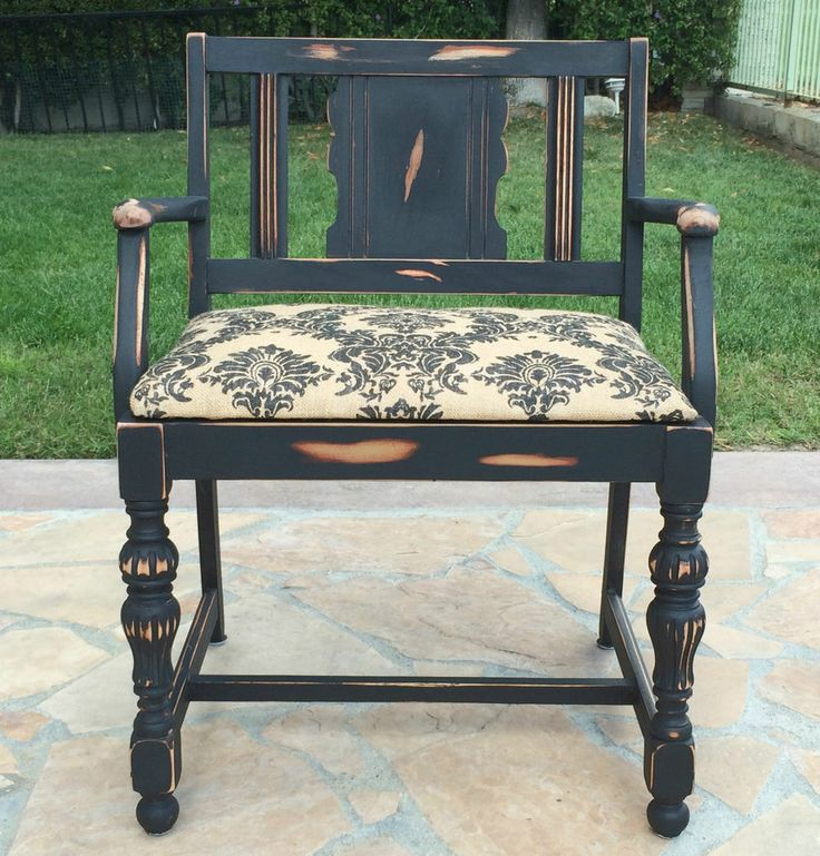 Vtg vanity bench shabby printed burlap stool makeup bedroom decor low back seat kitchen - Bedroom vanity chair with back ...