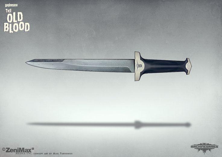 Concept Art Wolfenstein The Old Blood german dagger, axel torvenius on ArtStation at https://www.artstation.com/artwork/Jzkra