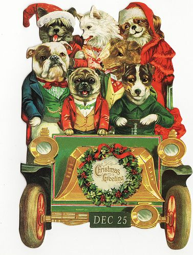 Vintage Inspired Dogs Driving Car Christmas Illustration