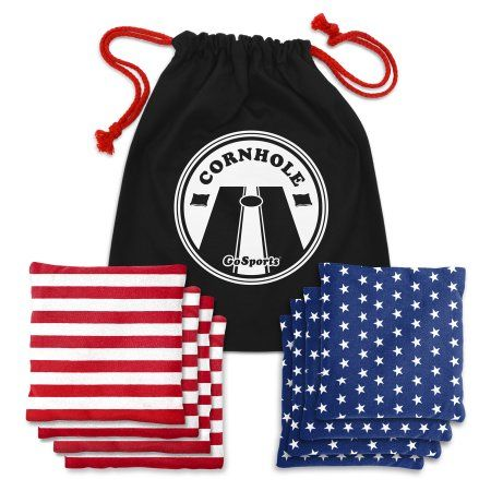 GoSports American Flag All-Weather Duck Cloth Cornhole Bean Bag, Set of 8, Stars and Stripes with Tote Bag