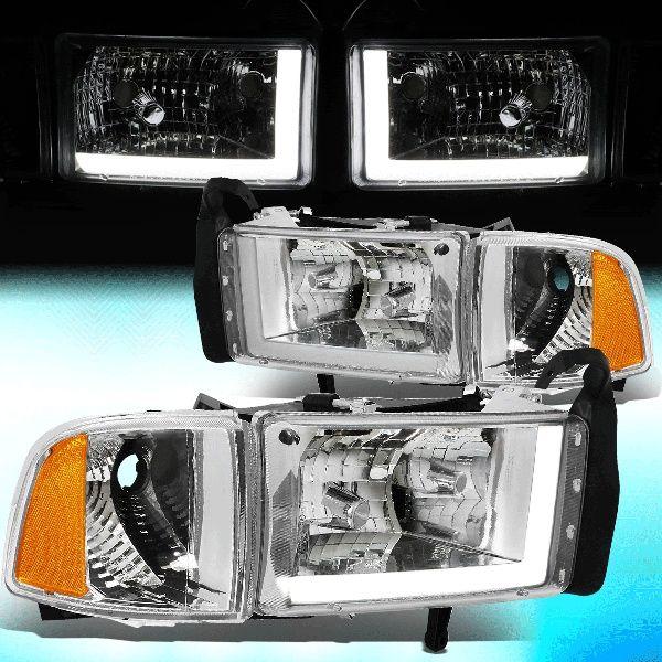 For 1994 To 2002 Dodge Ram 1500 2500 3500 Led Drl Light Bar Headlights Chrome Housing Amber Corner Headlamp 95 96 97 98 99 00 01 Left Right Wish Dodge Ram 1500 Dodge Ram Dodge