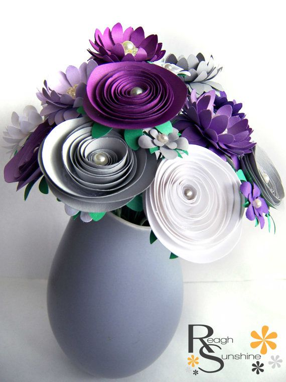 Assorted Spring Paper Flower Bouquet Purple by ReaghSunshine, $72.14   Spring MADE BY HAND SHOW 2014   Pinterest   Paper Flowers, Flowers and Spring