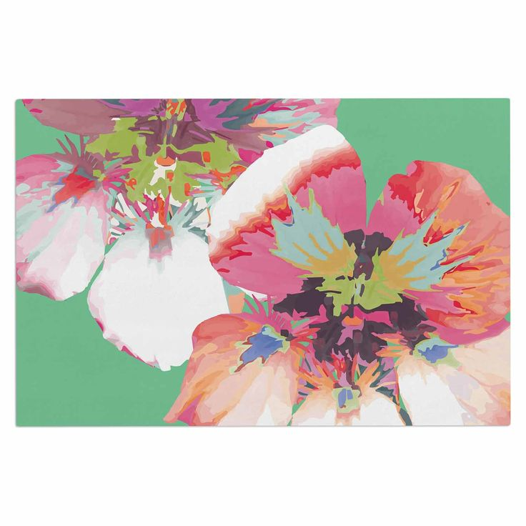 """Love Midge """"Graphic Flower Nasturtium Mint"""" Green Magenta Decorative Door Mat"""
