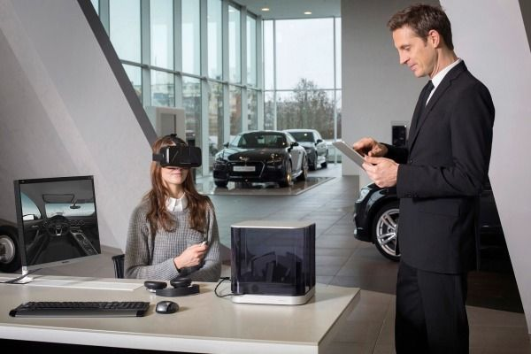 #Audi dealers will soon be equipped with #virtualreality headsets to use as showroom aids.