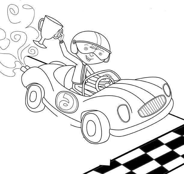 Boy Winner Track Racing Coloring Page