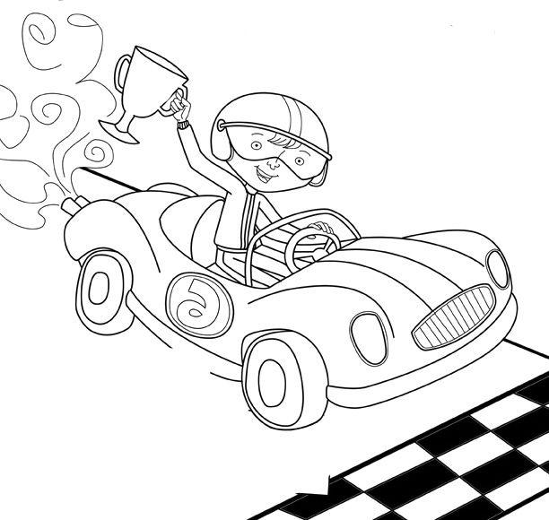 Boy Winner Track Racing Coloring Page Race Car Car