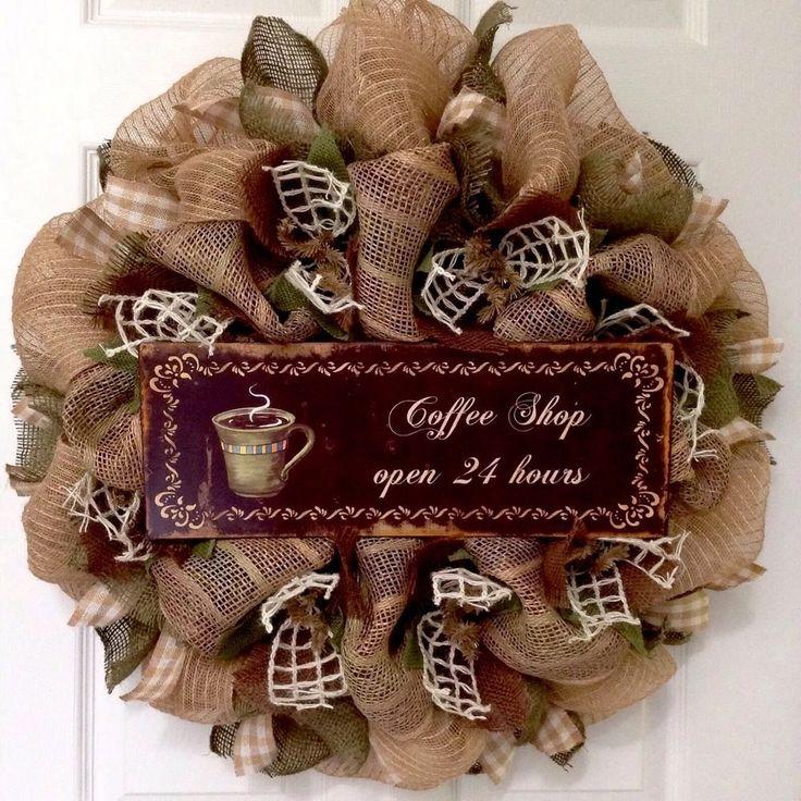 Coffee Shop Open 24 Hours Kitchen Wreath Handmade Deco Mesh #WhatAMeshbyDiana