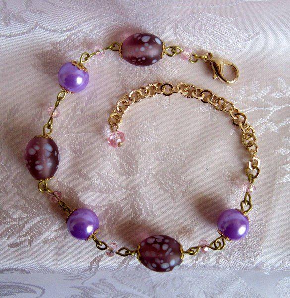 Bracciale con perle in vetro e cristalli rosa di Piccoli Capricci di Mara su DaWanda.com