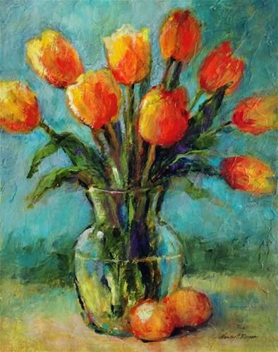 """Daily Paintworks - """"Spring Tulips"""" - Original Fine Art for Sale - © Nancy F. Morgan"""