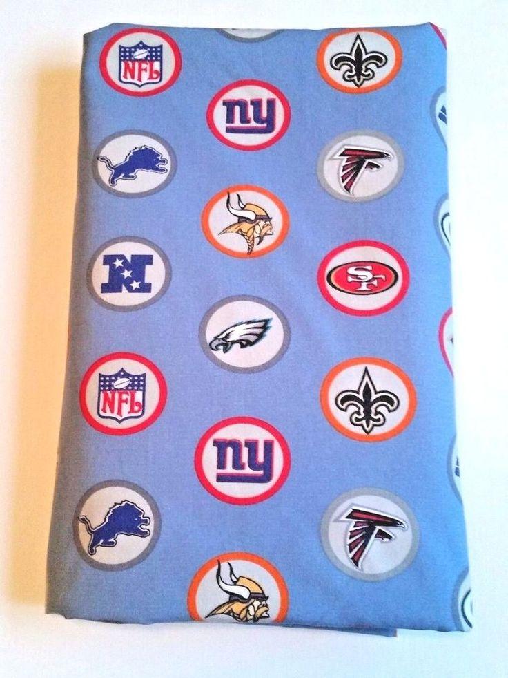 Pottery Barn PB Teen NFL NFC Football QUEEN Flat Sheet Sky Blue with Team Logos #PotteryBarnTeen