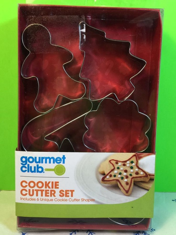 Gourmet Club Christmas Cookie Metal Cutter Set 6 Shapes Gift New