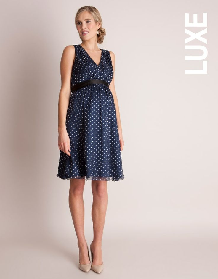<ul> <li>Made in pure polka dot silk chiffon </li> <li>V neckline flatters your enhanced bust line </li> <li>Elasticated at the empire line</li> <li>Discreet stretch panel to the side</li> </ul> <p>Made in luxurious silk chiffon with a stylish polka dot print, this fabulous little maternity cocktail dress is a must have for any summer occasion. The fine silk cascades down over your curves, with a discreet stretch panel to the side to provide a flexible fit for every stage of pregnancy. A…