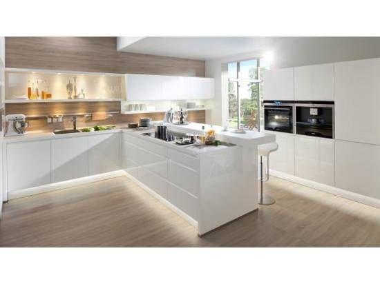 note lack kitchen with strip lighting